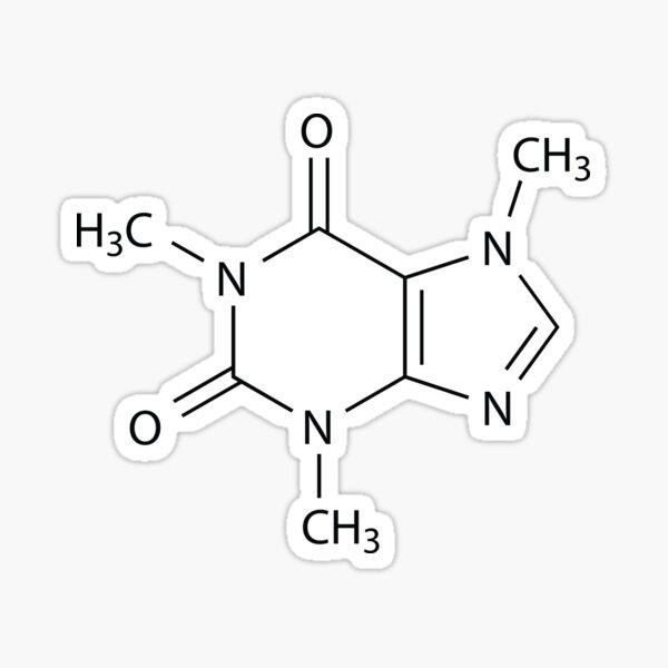 Caffeine Chemical Structure (C8H10N4O2) Sticker