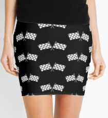 Checkered flags in grey Mini Skirt