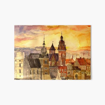 Polish artist Maja Wronska brings back watercolor sketches from her travels - Architecture Paintings Art Board Print
