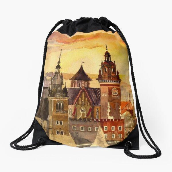 Polish artist Maja Wronska brings back watercolor sketches from her travels - Architecture Paintings Drawstring Bag