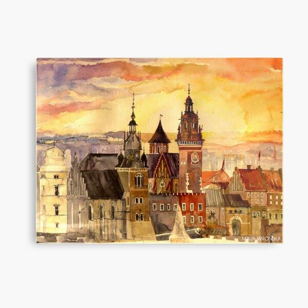 Polish artist Maja Wronska brings back watercolor sketches from her travels - Architecture Paintings Metal Print