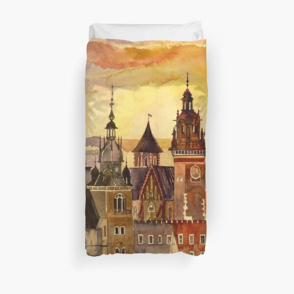 Polish artist Maja Wronska brings back watercolor sketches from her travels - Architecture Paintings Duvet Cover