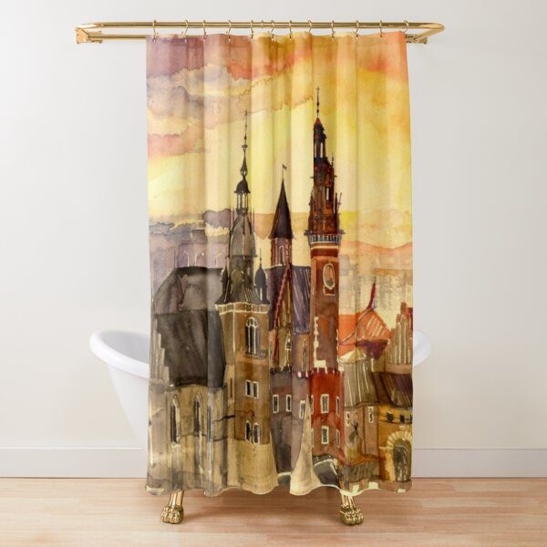Polish artist Maja Wronska brings back watercolor sketches from her travels - Architecture Paintings Shower Curtain