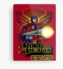 Robo With A Shotgun Metal Print