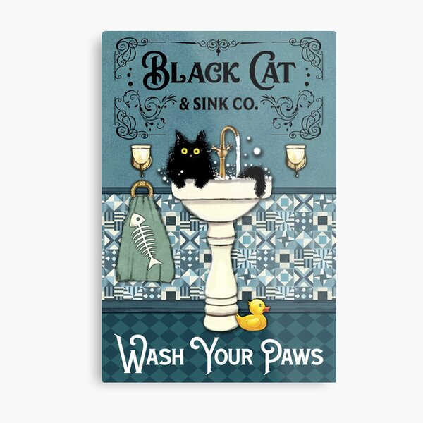 Black Cat And Sink Co. Wash Your Paws Poster Metal Print