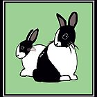 Black & White Dutch Rabbits with Soft Earthy Green by Abigail Davidson