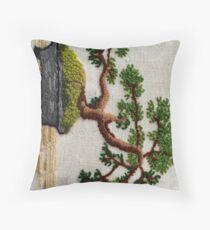 Bonsai Embroidery  Throw Pillow