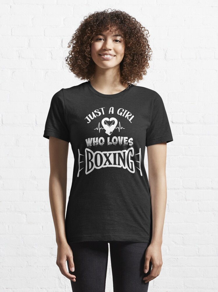 Alternate view of Just a girl loves boxing, girl boxing (white) Essential T-Shirt