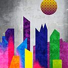 Summer Night City Colorful Trendy Flat Geometric Landscape by Beverly Claire Kaiya