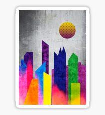 Summer Night City Colorful Trendy Flat Geometric Landscape Sticker