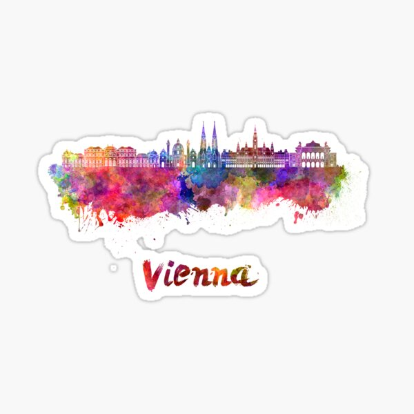 Vienna V2 skyline in watercolor background Sticker