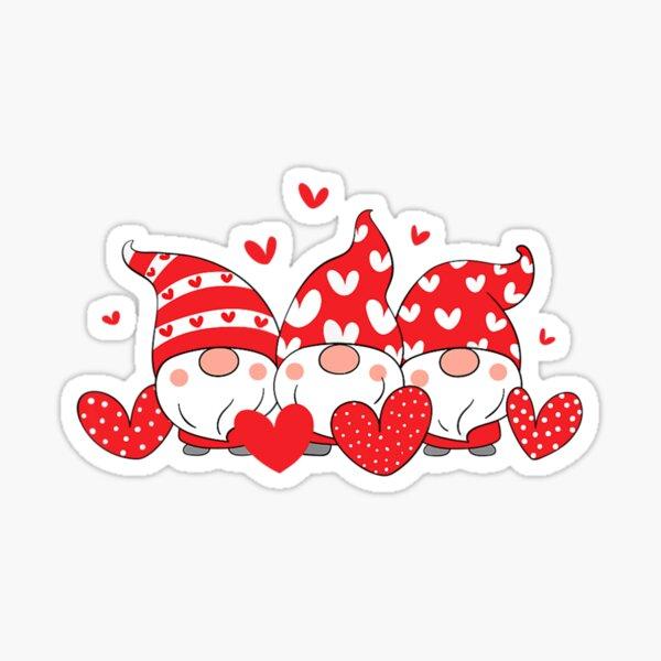 Three Gnomes Holding Hearts Sticker