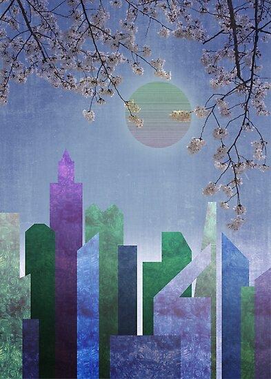 Spring Night Sakura Cherry Blossom Geometric City Landscape by Beverly Claire Kaiya