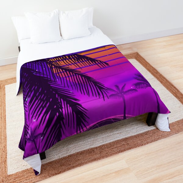80s sunset synthwave Comforter