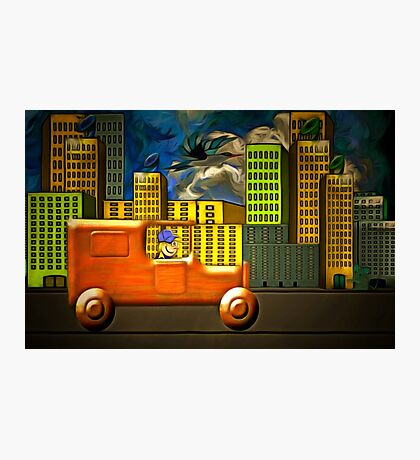 A Wooden Delivery Van in Town Photographic Print