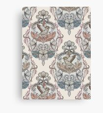 Woodland Birds - hand drawn vintage illustration pattern in neutral colors Canvas Print