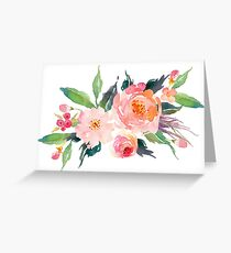 Watercolor Flower Bouquet  Greeting Card