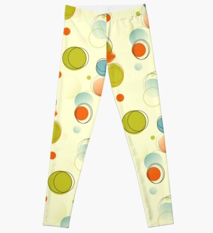 Midcentury Modern Bubble Dots Abstract Pattern Leggings
