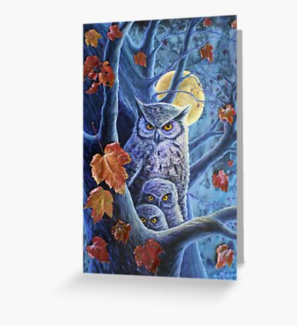 Harvest Moon Owls Greeting Card