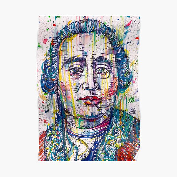 DAVID HUME watercolor and ink portrait Poster