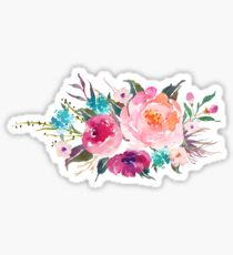 Floral Watercolor Bouquet Turquoise Pink Sticker