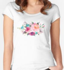 Floral Watercolor Bouquet Turquoise Pink Women's Fitted Scoop T-Shirt