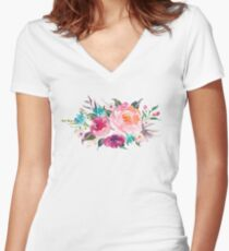 Floral Watercolor Bouquet Turquoise Pink Women's Fitted V-Neck T-Shirt
