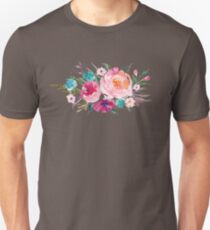 Floral Watercolor Bouquet Turquoise Pink Unisex T-Shirt