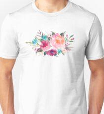 Floral Watercolor Bouquet Turquoise Pink T-Shirt