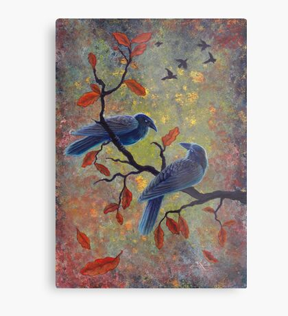 Autumn Ravens Metal Print