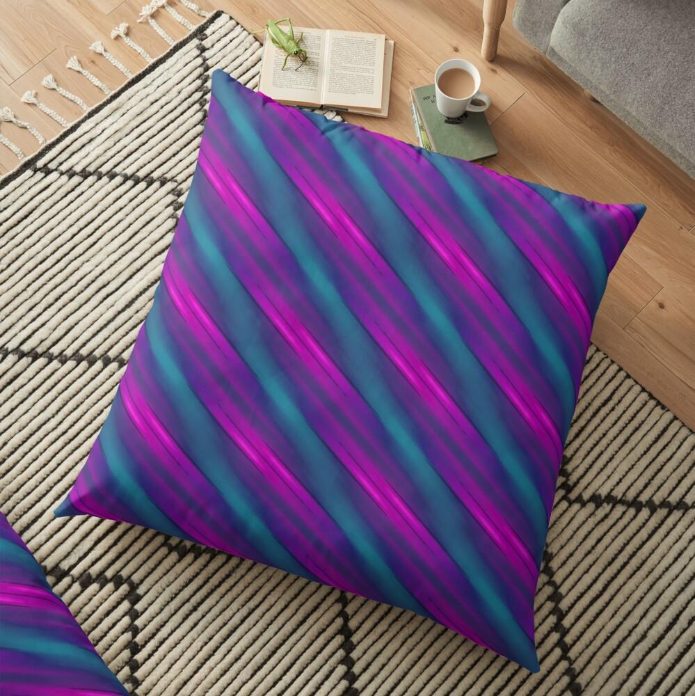 Modern Geometric Blue Teal Purple Pattern Design 1862 Floor Pillow