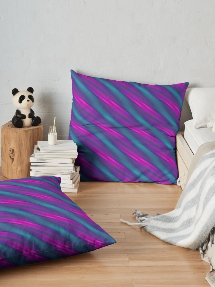 Alternate view of Modern Geometric Blue Teal Purple Pattern Design 1862 Floor Pillow