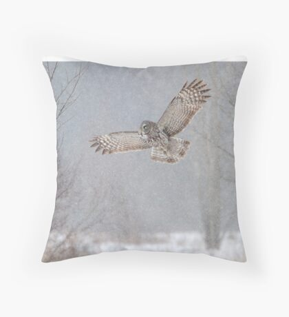 Towards the Heavens - Great Grey Owl Throw Pillow