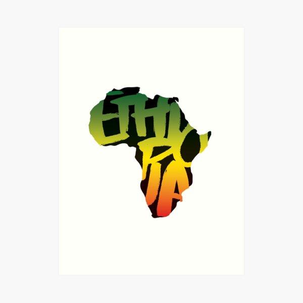 Ethiopia in Africa - Black Art Print