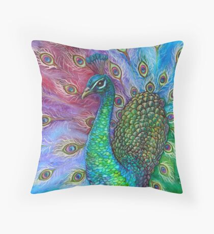 The Perfect Peacock. Throw Pillow