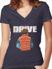 Back to the Future - Drive Women's Fitted V-Neck T-Shirt