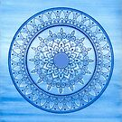 Hand Drawn Pretty Vibrant  Blue Watercolour Mandala Flower by Zedart