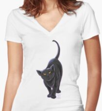 Animal Parade Black Cat Women's Fitted V-Neck T-Shirt