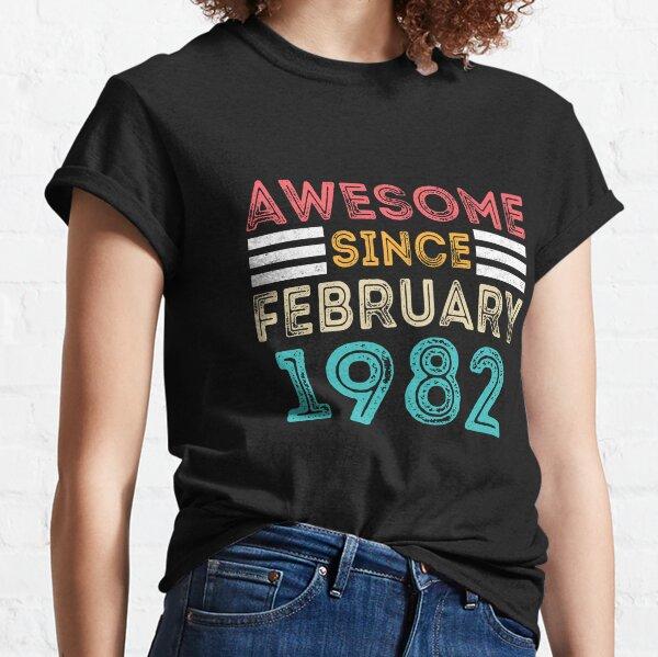 Regalo de cumpleaños retro vintage: impresionante desde febrero de 1982 Camiseta clásica