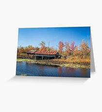 Old boat shed in Autumn Greeting Card