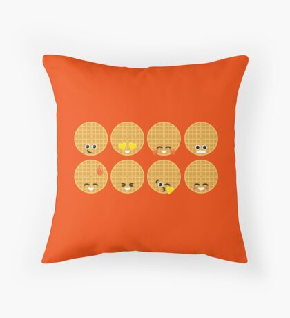 Emoji Building - Waffles Throw Pillow