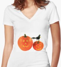 Halloween decoration over white background  Women's Fitted V-Neck T-Shirt