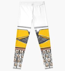 yellow vintageTypewriters Leggings