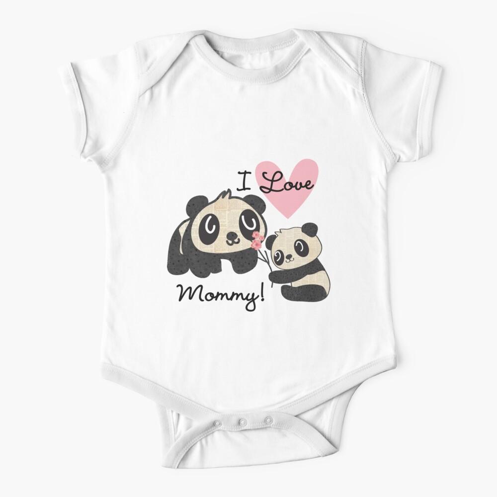 Kids Panda Bears I Love Mommy Baby One-Piece