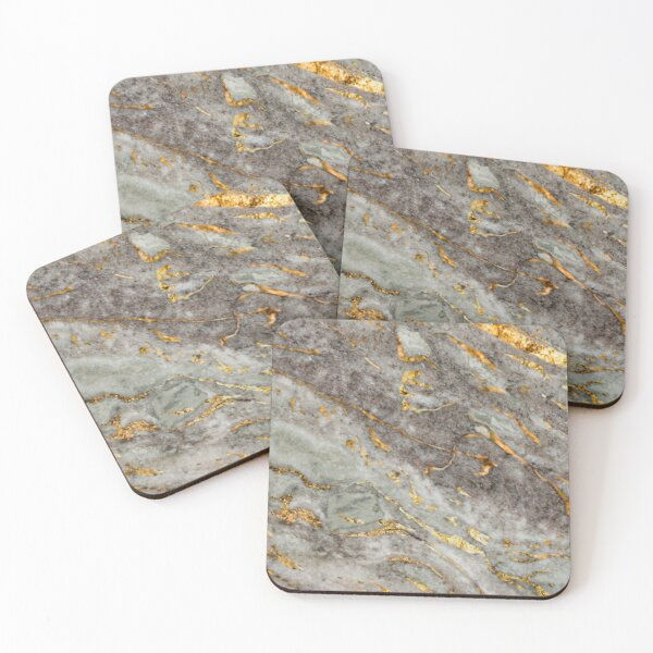 Chic Elegant Gold Marble Pattern with grey Coasters (Set of 4)
