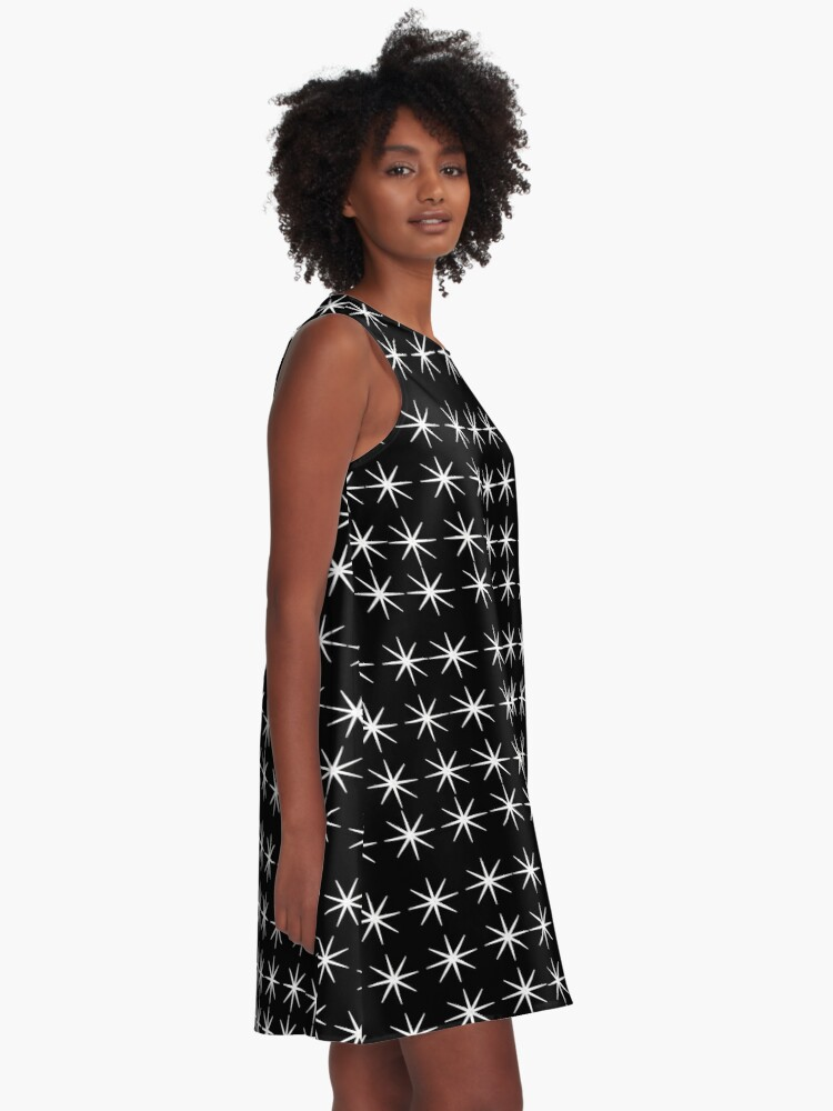 Alternate view of Stunning 8 White star points with black background A-Line Dress