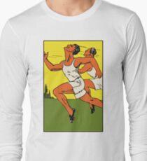 Retro track running championship ad 1920s style Long Sleeve T-Shirt