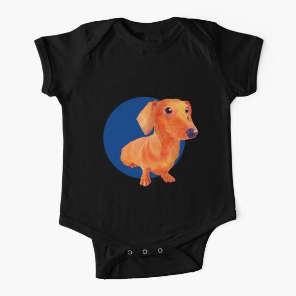 dachshund dog art with blue background Short Sleeve Baby One-Piece