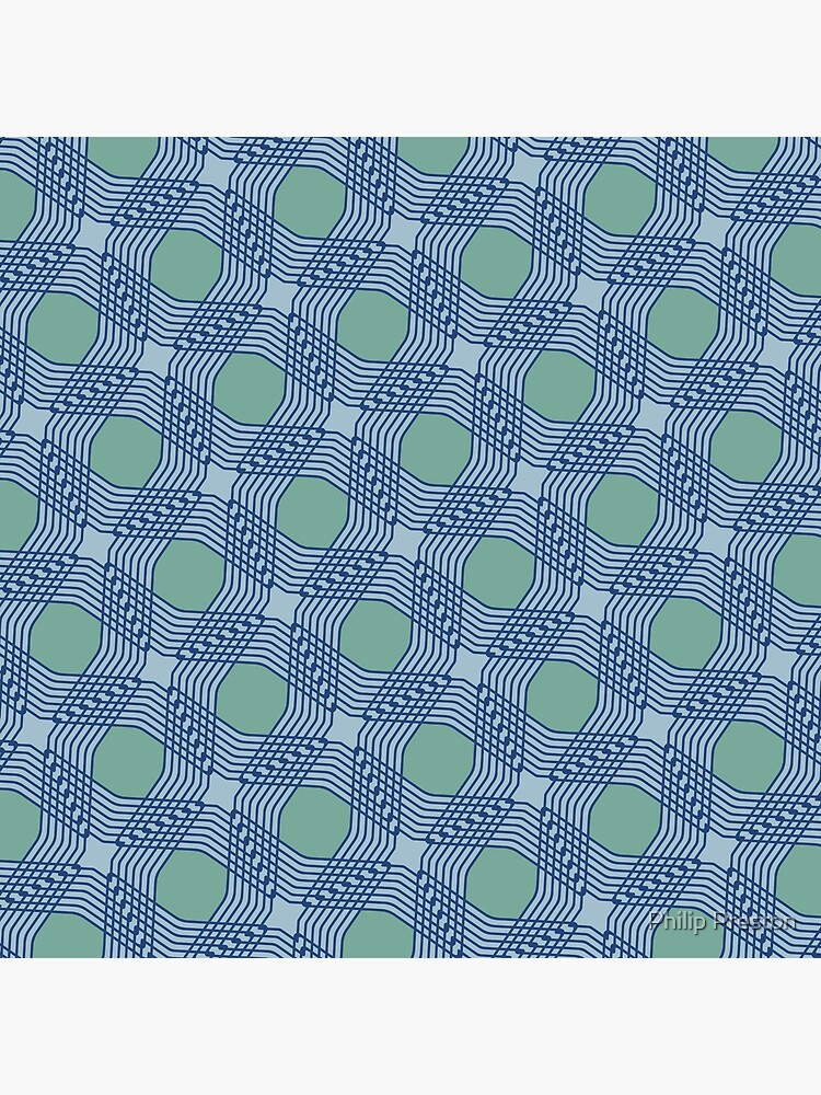 Modern Geometric Grey Blue Green Pattern Design 1873 by prestonphoto