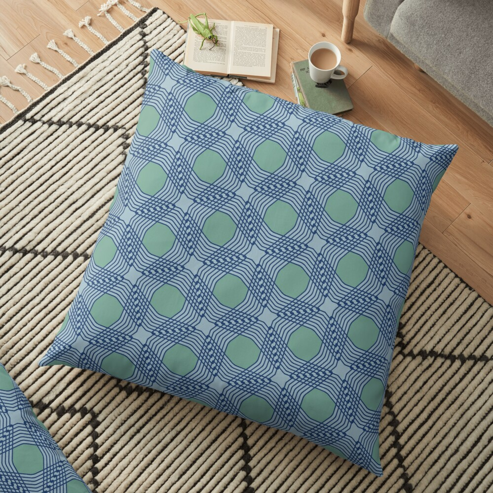 Modern Geometric Grey Blue Green Pattern Design 1873 Floor Pillow